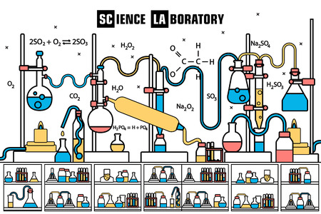 substances: Retro set science experiment equipment in a chemistry laboratory background concept. Vector illustration design in lines style Illustration
