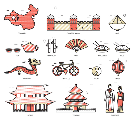 chinese pagoda: Country China travel vacation guide of goods, places in thin lines style design. Set of architecture, fashion, people, nature background concept. Infographic template for web and mobile on vector flat Illustration