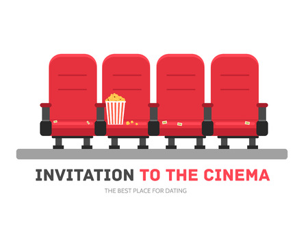 An invitation to the movie in flat design background concept. Armchairs cinema with popcorn. Icons for your product or illustration, web and mobile applications Illustration
