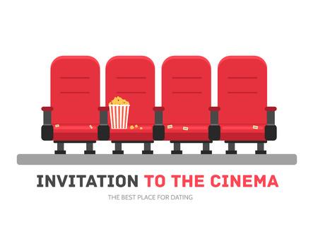 palomitas: Una invitación a la película en diseño plano del concepto del fondo. Sillones cine con palomitas de maíz. Iconos para su producto o ilustración, web y aplicaciones móviles Vectores