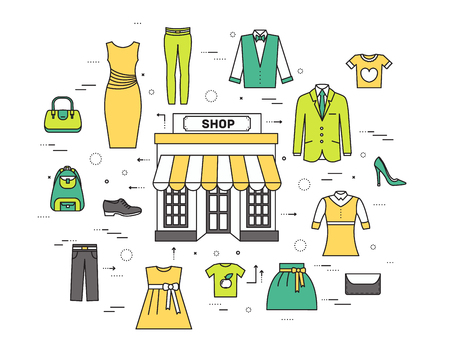 t shirt blouse: Thin line fashion clothing modern illustration concept. Infographicthings that you can buy in the boutique. Icons on isolated background. Flat vector template design for web and mobile application