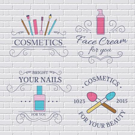 cosmeticos: cosméticos establecen plantilla de etiqueta de elemento emblema para su producto o el diseño, web y aplicaciones móviles con el texto. Ilustración del vector con líneas finas iconos aislados en símbolo sello. Vectores