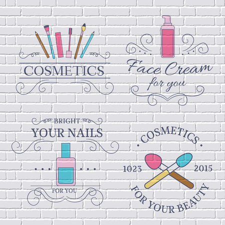 cosmetic: cosmetics set label template of emblem element for your product or design, web and mobile applications with text. Vector illustration with thin lines isolated icons on stamp symbol. Illustration