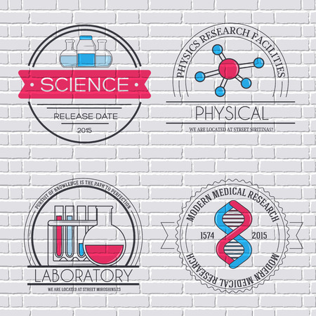 toxicology: Science set label template of emblem element for your product or design, web and mobile applications with text. Vector illustration with thin lines isolated icons on stamp symbol.