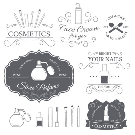tratamiento facial: cosméticos establecen plantilla de etiqueta de elemento emblema para su producto o el diseño, web y aplicaciones móviles con el texto. Ilustración del vector con líneas finas iconos aislados en símbolo sello. Vectores