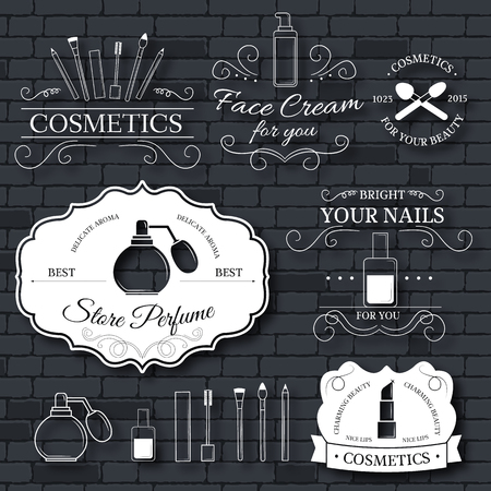 makeup artist: cosmetics set label template of emblem element for your product or design, web and mobile applications with text. Vector illustration with thin lines isolated icons on stamp symbol. Illustration