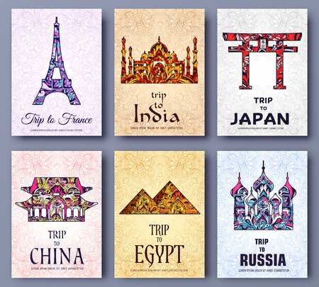 typography: set of art ornamental travel and architecture on ethnic floral style flyers. Vector decorative banner of card or invitation design. Historical monuments of France, India, Japan, China, Egypt, Russia.
