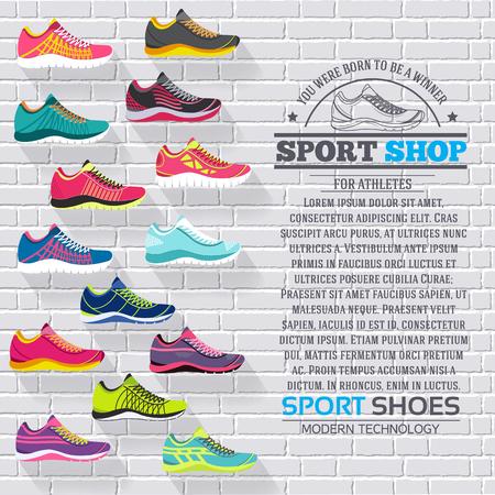 tienda zapatos: gran colección plana ilustración Conjunto de zapatillas de correr, caminar, ir de compras, los fondos del estilo. Vector los elementos conceptuales iconos. Plantilla de colores para que el diseño, carteles, web y aplicaciones móviles