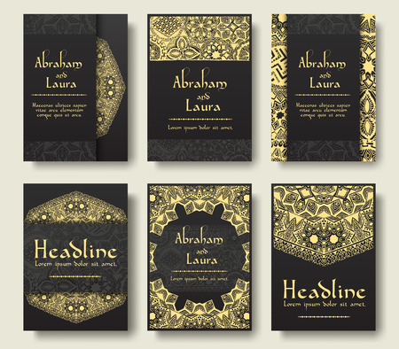retro design: Set of flyer pages ornamental illustration stylized gold concept. Luxury art traditional, Islam, arabic, indian, ottoman motifs, elements. Vector decorative retro greeting card or invitation design.