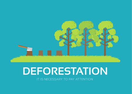 フラットなデザインの背景概念での森林伐採を発行します。生態学的な自然な問題。製品やイラスト、web およびモバイル アプリケーションのための