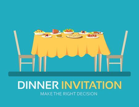 table vintage avec de nombreux aliments en design plat, fond, concept. Icônes pour votre produit ou illustration, web et applications mobiles