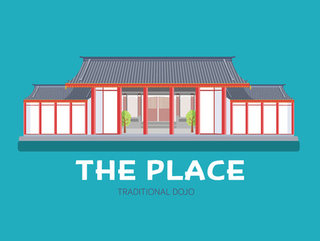 performance art: Japanese architecture house in flat design background concept. Japan traditional dojo place. Icons for your product or illustration, web and mobile applications. Illustration