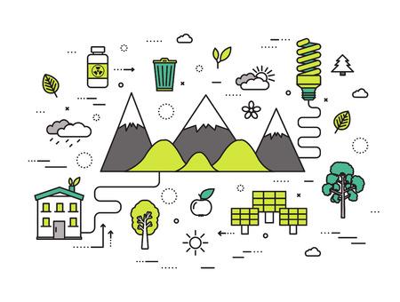 línea delgada recursos naturales moderna ilustración del concepto. infografía camino desde la ecología a la energía limpia. Iconos en el fondo blanco aislado. diseño de la plantilla de vectores plana para web y aplicaciones móviles