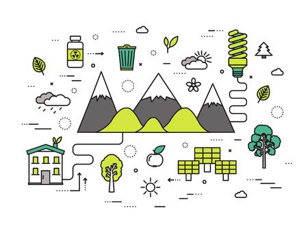 water on leaf: Thin line natural resources modern illustration concept. Infographic way from ecology to clean energy. Icons on isolated white background. Flat vector template design for web and mobile application