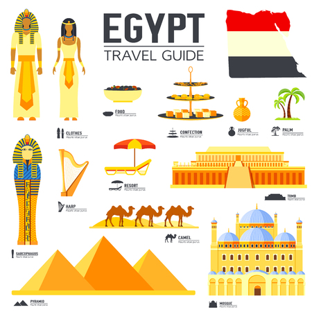 国エジプト旅行バケーション ガイドの商品、場所および機能。建築、人々、文化、アイコン背景概念のセットです。Web とモバイルのインフォ グラ