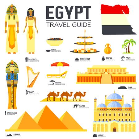 the harp: viajar País Egipto guía de las vacaciones de bienes, lugares y accidentes. Conjunto de la arquitectura, la gente, la cultura, iconos concepto de fondo. Diseño del modelo de la infografía para web y móvil. El estilo plano