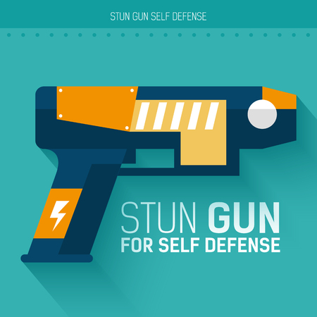self defense: Stun gun for self defense. Vector icon illustration background. Colorful template for you design, web and mobile applications concept Illustration