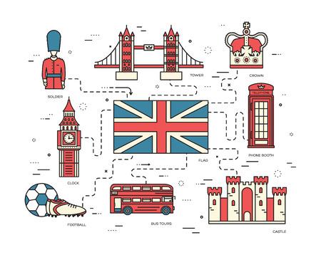 bus anglais: Pays Angleterre guide de vacances Voyage de marchandises, les lieux dans la conception des lignes de style mince. Définir l'architecture, les gens, le sport, icônes, fond, concept. Infographies modèle pour le web et mobile sur vecteur plat Illustration