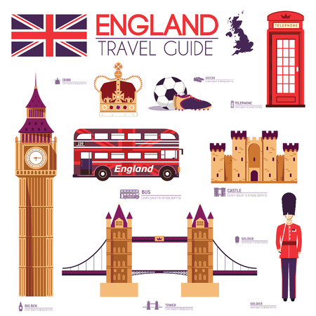 bus anglais: Pays Angleterre guide de voyage de vacances des marchandises, des lieux et des caractéristiques. Définir l'architecture, les gens, le sport, les articles, le concept des icônes de fond. Infographies conception de modèle pour le web et mobile. Sur le style plat