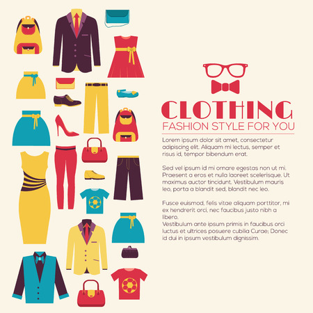 Fashion clothing infographics template concept. Icons design for your product or design, web and mobile applications. Vector flat with long shadow illustration on blue background Ilustração