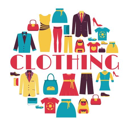 Mode Kleidung Infografik Template-Konzept. Icons Design für Ihr Produkt oder Design, Web und mobile Anwendungen. Vector flach mit langen Schatten Illustration auf blauem Hintergrund