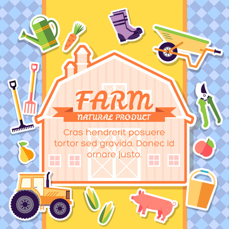 farm equipment: Farm equipment elements on background poster in sticker style design. Instruments, flowers, vegetables, fruits, hay, farm building, animals, tractor, tools, clothing. Vector template card illustration Illustration