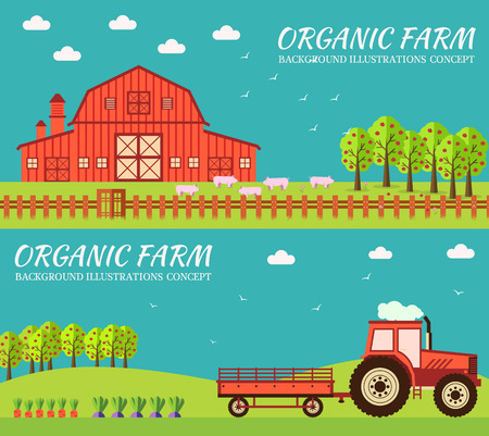 vegetable cartoon: Flat farm in village set sprites and tile sets. instruments, flowers, vegetables, fruits, hay, farm building, animals, tractor, tools, clothing. Vector illustrations design banners concept Illustration