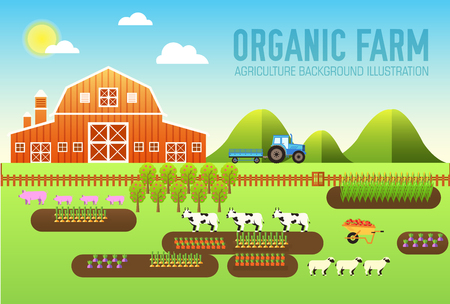 horizons: Flat farm in village set sprites and tile sets. instruments, flowers, vegetables, fruits, hay, farm building, animals, tractor, tools, clothing. Vector illustrations design banners concept Illustration