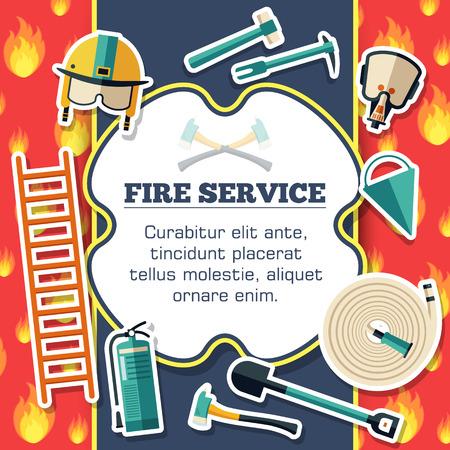 ステッカー風のデザインの赤い火の背景のポスターに消防機器要素。ベクトル イラスト テンプレート カード イラストの概念