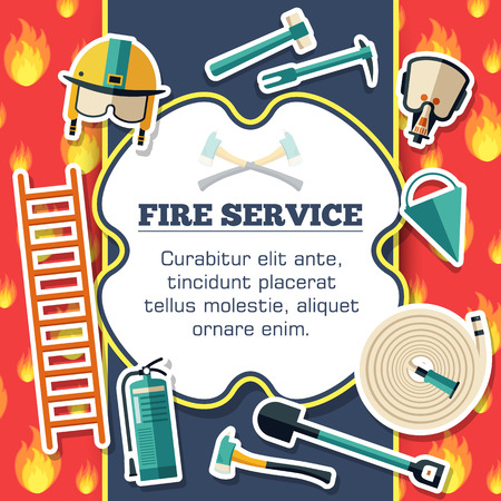 Firefighter equipment elements on red fire background poster in sticker style design. Vector illustration template card illustration concept