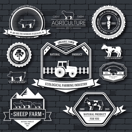 farm label template of emblem element for your product or design, web and mobile applications with text. Vector illustration with thin lines isolated icons on stamp symbol