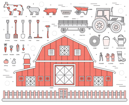 Organic farm in village set and tile in thin lines style design. instruments, flower, vegetables, fruits, hay, farm building, animals, tractor, tools, clothing. Vector illustrations background concept