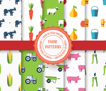 vegetable garden: collection set of agricultural seamless pattern. Farm, instrument, fruits, tractor, animals, tools with label logo concept. Vector abstract template for greeting card or invitation design illustration Illustration