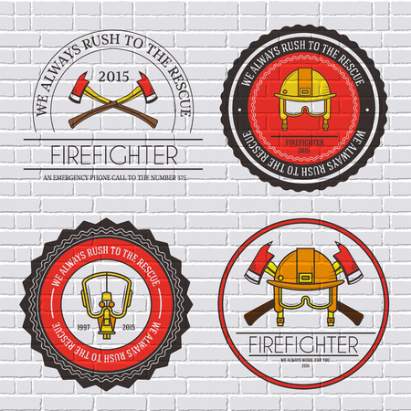 firefighter: firefighter label template of emblem element for your product or design, web and mobile applications with text. Vector illustration with thin lines isolated icons on stamp symbol Illustration