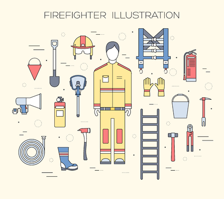 firefighter uniform: Flat firefighter uniform and first help equipment set and instruments. On flat style background concept. Vector illustration for colorful template for you design, web and mobile applications