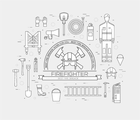 fire icon: Flat firefighter uniform and first help equipment set and instruments. On flat style background concept. Vector illustration for colorful template for you design, web and mobile applications