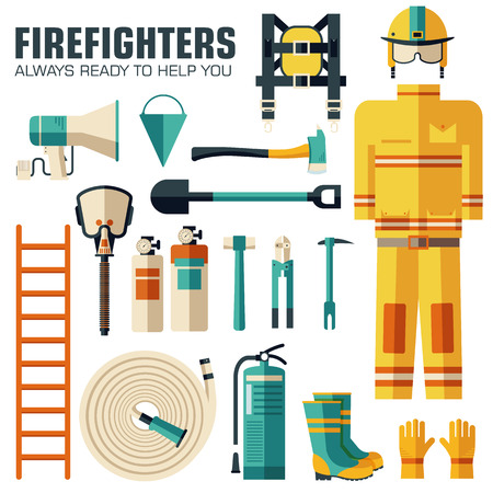 firefighting: Flat firefighter uniform and first help equipment set and instruments. On flat style background concept. Vector illustration for colorful template for you design, web and mobile applications