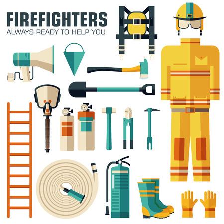 bombera: uniforme de bombero plana y el primer equipo de ayuda conjunto e instrumentos. En el fondo del concepto de estilo plano. Ilustración del vector para Plantilla de colorido para que el diseño, aplicaciones web y móviles