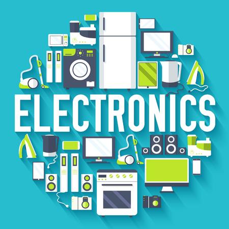 electrodomésticos concepto de sistema electrónico círculo infografía plantilla. Iconos del diseño de su producto o diseño, web y aplicaciones móviles. plana del vector con la ilustración larga sombra sobre fondo azul