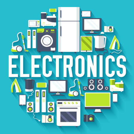Home electronics appliances circle infographics template concept. Icons design for your product or design, web and mobile applications. Vector flat with long shadow illustration on blue background Ilustração