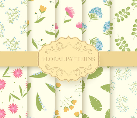 pastel: collection set of floral seamless pattern. leaves, Spring, flowers, summer, Autumn with label logo concept. Vector abstract template for greeting card or invitation design illustration elements