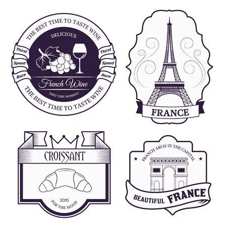 国フランスでは、製品やデザイン、web およびモバイル アプリケーション本文のエンブレム要素のラベル テンプレートを設定します。細い線とベク