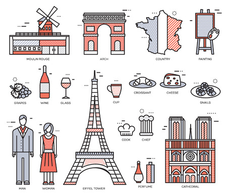 rouge: Country France trip guide of goods, places in thin lines style design. Set of architecture, fashion, people, nature background concept. Infographic template design for web and mobile on vector flat