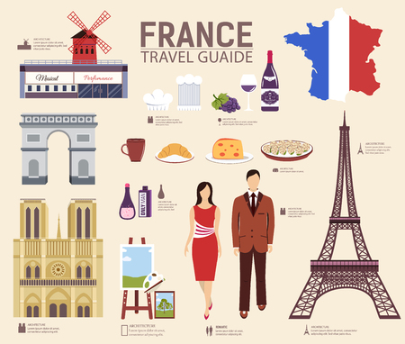 rouge: Country France travel vacation guide of goods, places and features. Set of architecture, fashion, people, items, nature background concept. Infographic template design for web and mobile on flat style Illustration