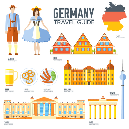 travel features: Country Germany travel vacation guide of goods, places and features. Set of architecture, people, culture, icons background concept. Infographics template design for web and mobile. On flat style