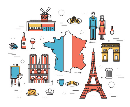 french culture: Country France trip guide of goods, places in thin lines style design. Set of architecture, fashion, people, nature background concept. Infographic template design for web and mobile on vector flat
