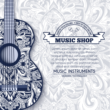 abstract music: Abstract retro music guitar on blue floral background of the ornament concept. Art decorative, Islam, arabic, indian, ottoman motifs, elements. Vector modern greeting card or invitation design.