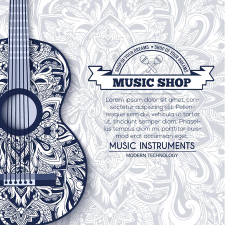 guitarra: Resumen de una guitarra de música retro en el fondo floral azul del concepto ornamento. artes decorativas, Islam,, indio, árabe motivos otomanos, elementos. Vector de la tarjeta de felicitación moderna o diseño de la invitación.