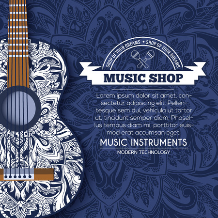 Abstract retro music guitar on blue floral background of the ornament concept. Art decorative, Islam, arabic, indian, ottoman motifs, elements. Vector modern greeting card or invitation design.