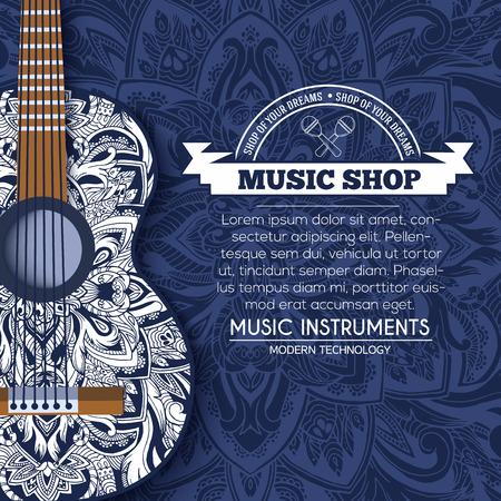 arte moderno: Resumen de una guitarra de música retro en el fondo floral azul del concepto ornamento. artes decorativas, Islam,, indio, árabe motivos otomanos, elementos. Vector de la tarjeta de felicitación moderna o diseño de la invitación.